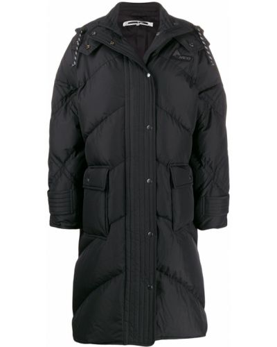 Черное пуховое длинное пальто с капюшоном Mcq Alexander Mcqueen