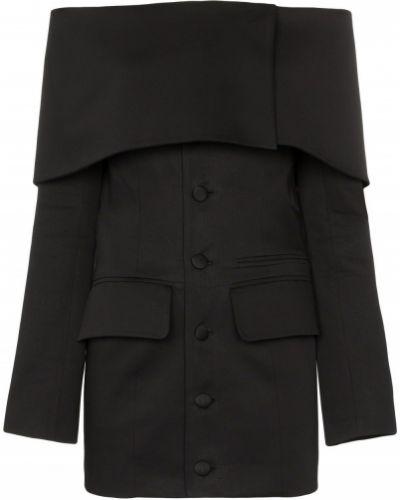 Прямой черный удлиненный пиджак с карманами Aleksandre Akhalkatsishvili