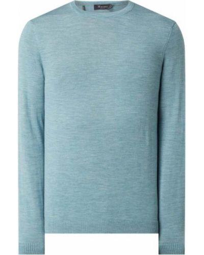 Niebieski sweter wełniany prążkowany Maerz Muenchen