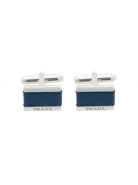 Niebieskie spinki do mankietów srebrne pikowane Prada
