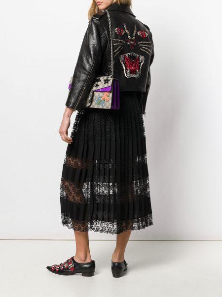 Кожаная куртка черная укороченная Gucci