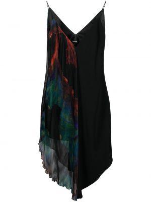 Плиссированное черное платье миди с вырезом Just Cavalli
