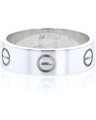 Biały pierścionek srebrny Cartier