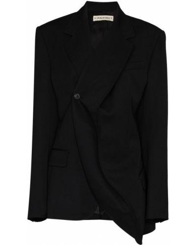 Шерстяной черный удлиненный пиджак с карманами Y/project