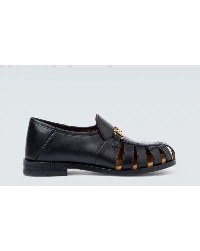 Czarny klasyczny loafers z prawdziwej skóry Gucci