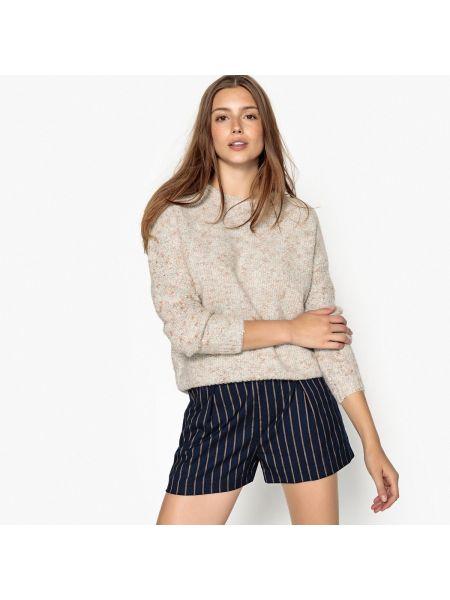 Бежевый акриловый пуловер круглый с круглым вырезом See U Soon