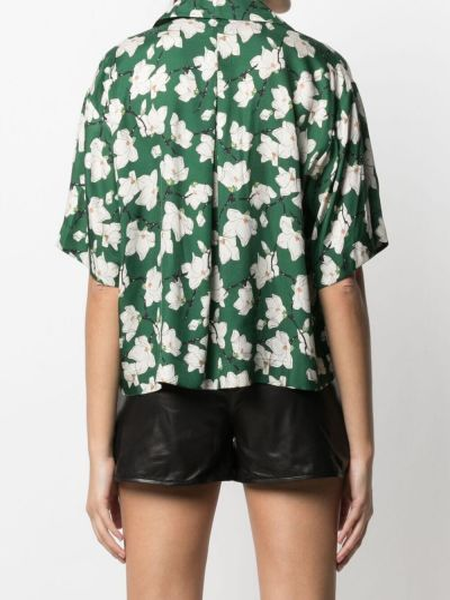 Zielona koszula krótki rękaw z jedwabiu Rag & Bone