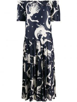 Плиссированное с заниженной талией платье миди эластичное с короткими рукавами Valentino
