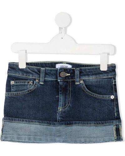Хлопковая синяя классическая юбка мини с поясом Dondup Kids