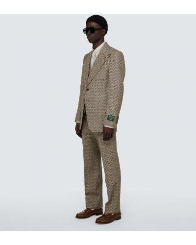 Костюмный коричневый шерстяной костюм-тройка Gucci