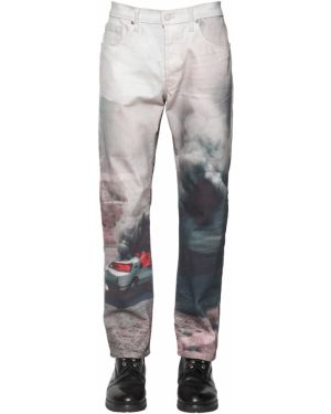 Niebieskie jeansy skorzane z printem Lost Daze Ca