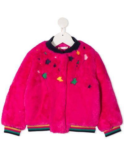 Różowa długa kurtka z haftem z długimi rękawami Billieblush