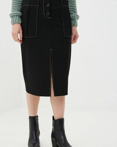 Прямая черная юбка карандаш Sisley