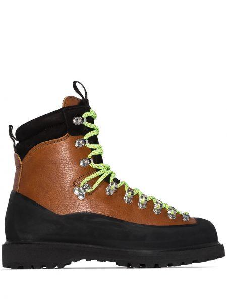 Кожаные ажурные зимние ботинки Diemme