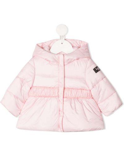 Ватная розовая длинная куртка с капюшоном Il Gufo
