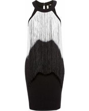 Платье мини с бахромой черное Bonprix
