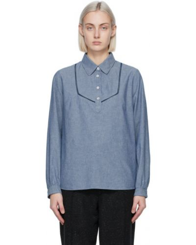 Хлопковая синяя рубашка с длинными рукавами A.p.c.