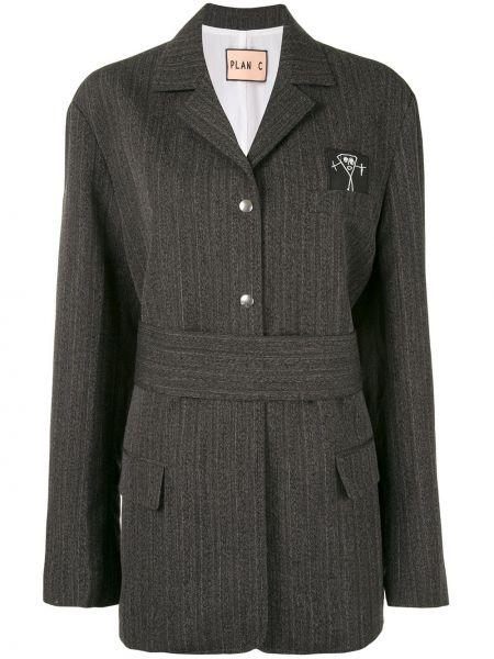Шерстяной серый удлиненный пиджак с карманами Plan C