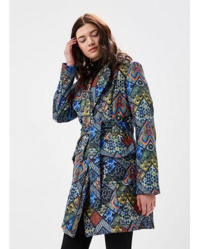 Комбинированное пальто с поясом Naoko