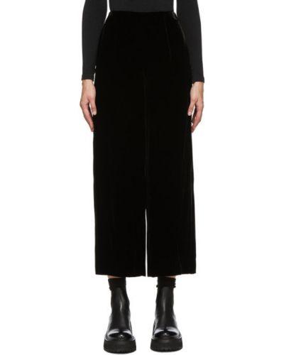 Czarny bezpłatne cięcie jedwab szerokie spodnie bezpłatne cięcie Enfold