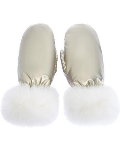 Утепленные нейлоновые перчатки золотые Yves Salomon
