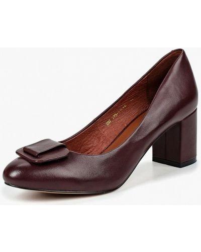 Туфли на каблуке кожаные бордовый Julia Grossi