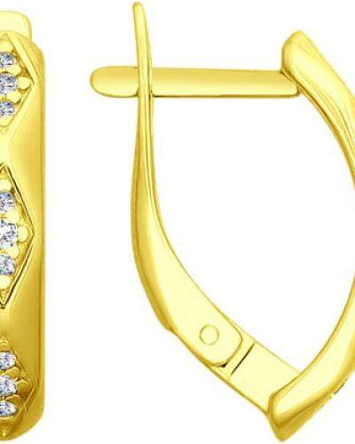 Серебряные серьги золотые позолоченные Sokolov