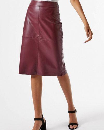 Кожаная бордовая юбка Dorothy Perkins