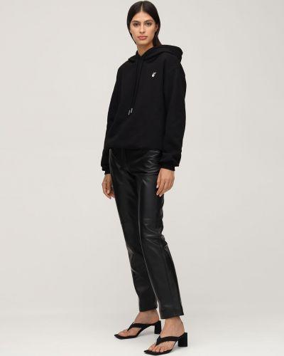 Czarny ze sznurkiem do ściągania bluza z kapturem Off-white