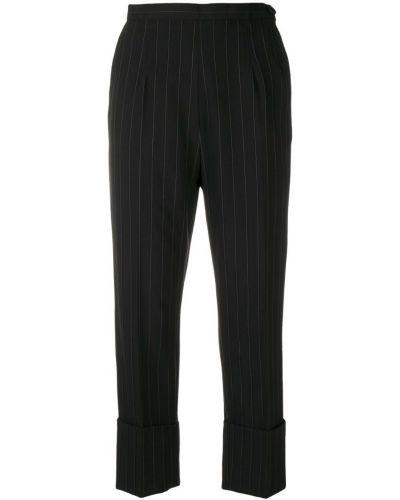 Черные плиссированные укороченные брюки с нашивками с поясом I'm Isola Marras