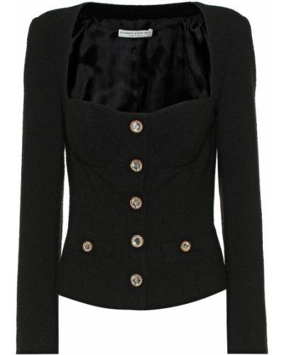 Шерстяная черная куртка Alessandra Rich