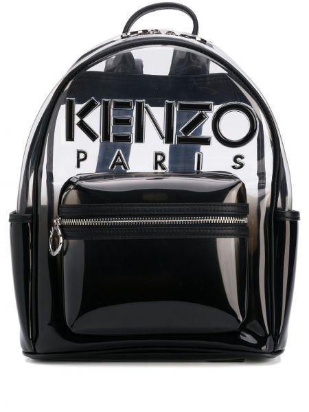 Кожаная черная кожаная сумка на молнии прозрачная Kenzo