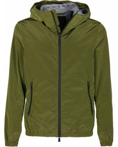 Zielona kurtka z kapturem z długimi rękawami Herno
