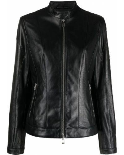 Czarna długa kurtka skórzana z długimi rękawami Boss Hugo Boss