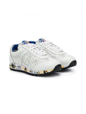 Ажурные кожаные белые кроссовки на шнурках Premiata Kids