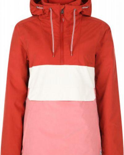 Утепленная красная длинная куртка на молнии Protest
