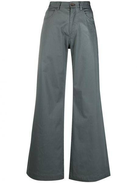 Расклешенные хлопковые серые брюки SociÉtÉ Anonyme