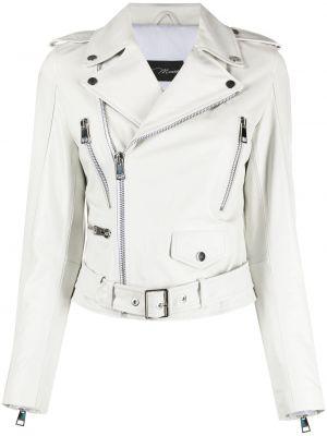 Белая кожаная куртка на молнии Manokhi