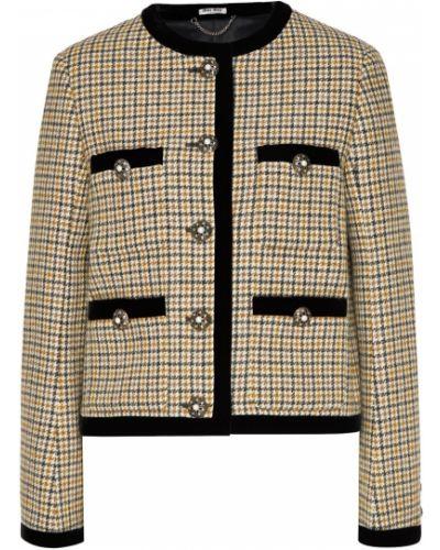 Повседневный прямой бархатный пиджак с карманами Miu Miu