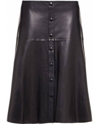 Черная кожаная юбка миди на крючках Stand Studio