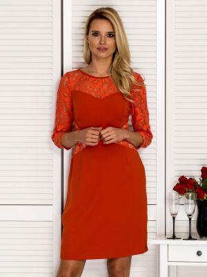 Pomarańczowa sukienka wieczorowa koronkowa sylwestrowa Fashionhunters