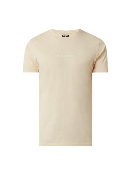 Beżowy t-shirt z printem bawełniany Raizzed