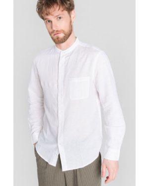 С рукавами белая рубашка с карманами с воротником Ostin