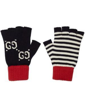 Rękawiczki z paskami z mankietami Gucci
