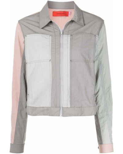 Серая короткая куртка на молнии с воротником Eckhaus Latta