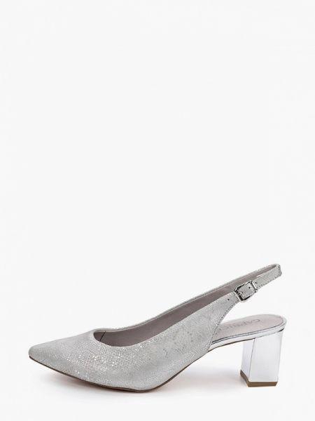 Кожаные туфли с открытой пяткой серебряный Caprice