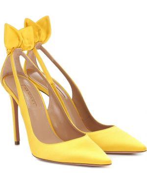 Туфли-лодочки сатиновый жёлтые Aquazzura