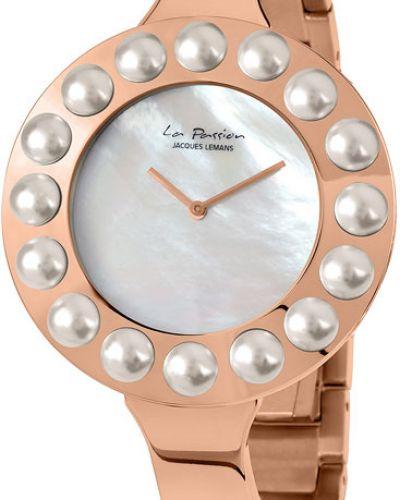 Кварцевые часы водонепроницаемые с камнями Jacques Lemans