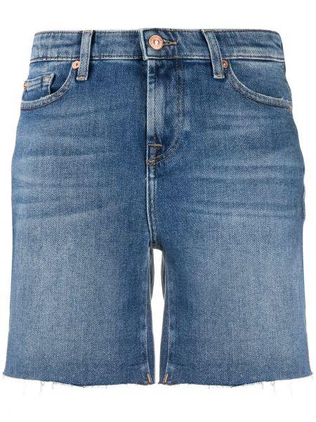 Однобортные джинсовые шорты с карманами со стразами 7 For All Mankind