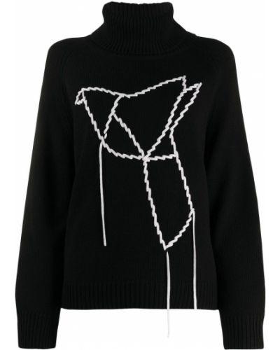Шерстяная черная водолазка с вышивкой в рубчик Sminfinity